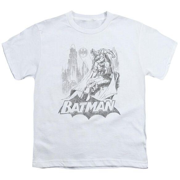 Batman Bat Sketch Short Sleeve Youth T-Shirt