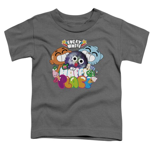 Amazing World Of Gumball Happy Place Short Sleeve Toddler Tee Charcoal T-Shirt