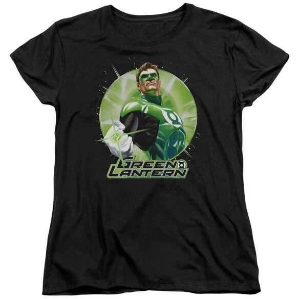Jla Green Static Short Sleeve Womens Tee T-Shirt