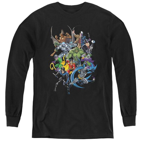 Batman Saints And Psychos - Youth Long Sleeve Tee - Black