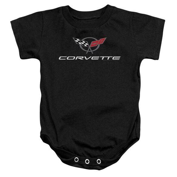 Chevrolet Corvette Modern Emblem Infant Snapsuit Black