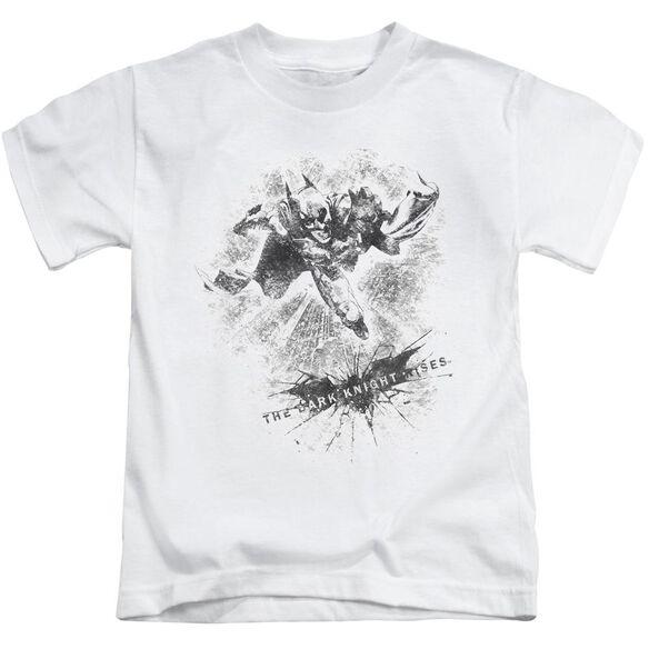 Dark Knight Rises Penciled Knight Short Sleeve Juvenile White T-Shirt