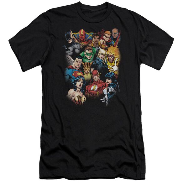 Jla The League's All Here Short Sleeve Adult T-Shirt