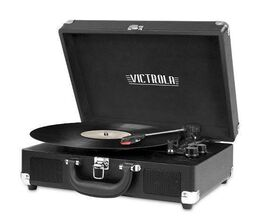Portable Victrola Suitcase Record Player with Bluetooth and 3 Speed Turntable - Black