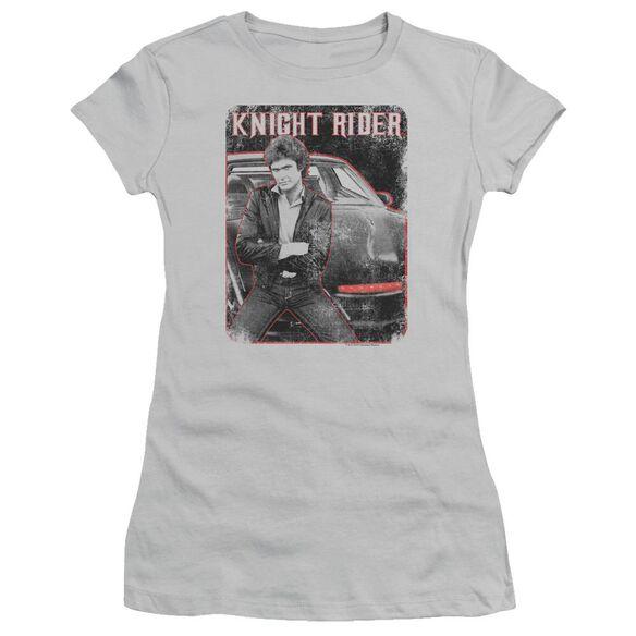 Knight Rider Knight And Kitt Short Sleeve Junior Sheer T-Shirt