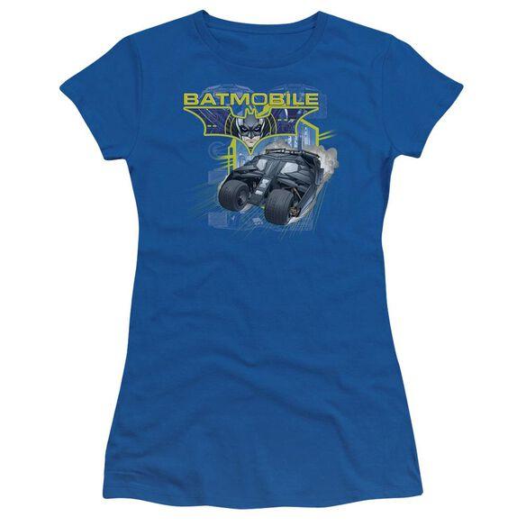 Dark Knight Batmobile Short Sleeve Junior Sheer Royal T-Shirt
