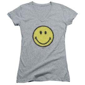 Smiley World Paper Jam Junior V Neck Athletic T-Shirt