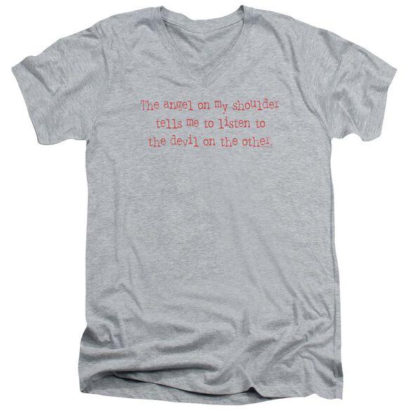 An Angel On Shoulder Short Sleeve Adult V Neck Athletic T-Shirt