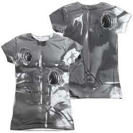 Terminator Ii T1000 Costume (Front Back Print) Short Sleeve Junior Poly Crew T-Shirt