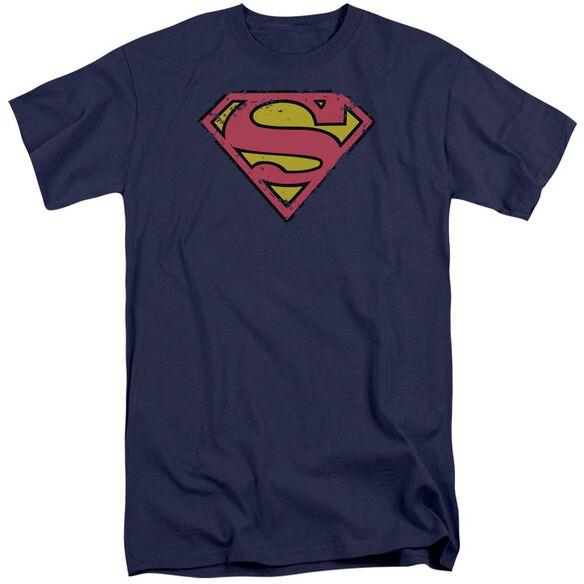 Superman Distressed Shield Short Sleeve Adult Tall T-Shirt
