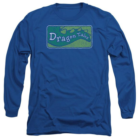 Dragon Tales Logo Distressed Long Sleeve Adult Royal T-Shirt