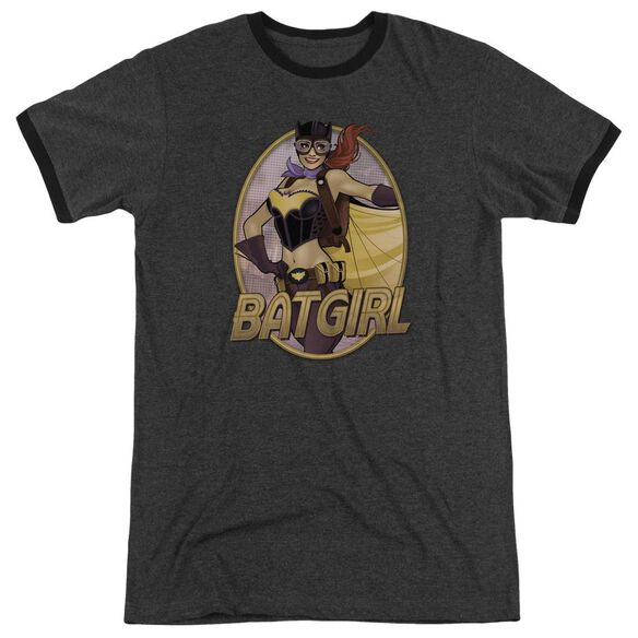 Jla Batgirl Bombshell Adult Heather Ringer Charcoal