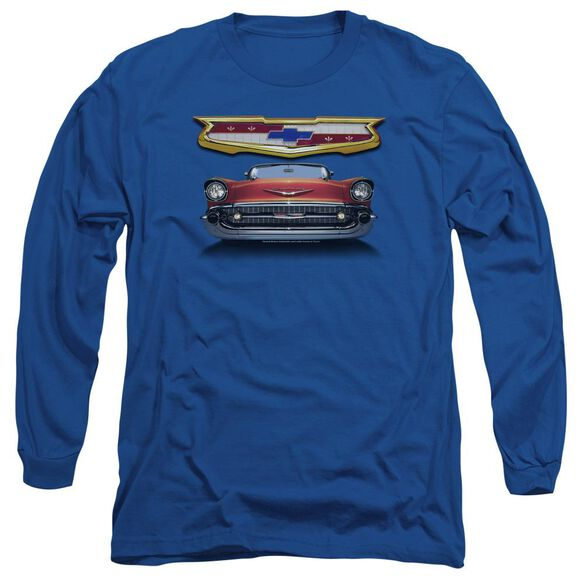 Chevrolet 1957 Bel Air Grille Long Sleeve Adult Royal T-Shirt