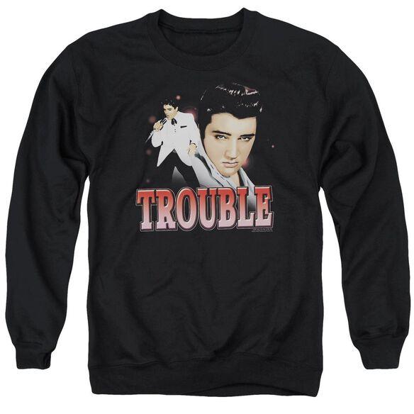 Elvis Presley Trouble - Adult Crewneck Sweatshirt - Black