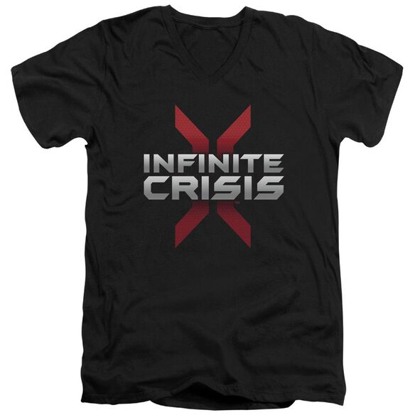 Infinite Crisis Logo Short Sleeve Adult V Neck T-Shirt
