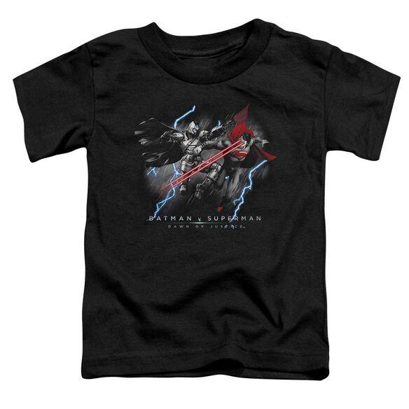 Batman V Superman Lightning V Heat Vision Short Sleeve Toddler Tee Black T-Shirt
