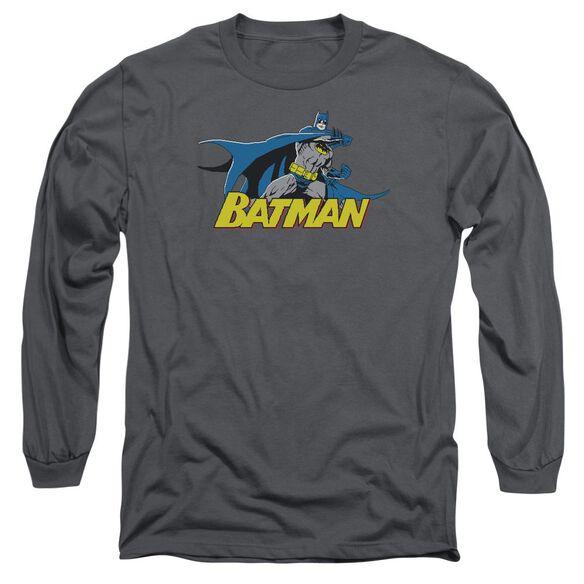 BATMAN 8 BIT CAPE - L/S ADULT 18/1 - CHARCOAL T-Shirt