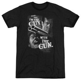 ARMY OF DARKNESS GUY WITH THE GUN - ADULT HEATHER RINGER - BLACK