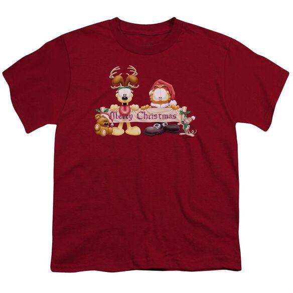 Garfield Christmas Banner Short Sleeve Youth T-Shirt