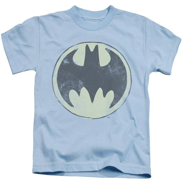 Batman Old Time Logo Short Sleeve Juvenile Light Blue T-Shirt
