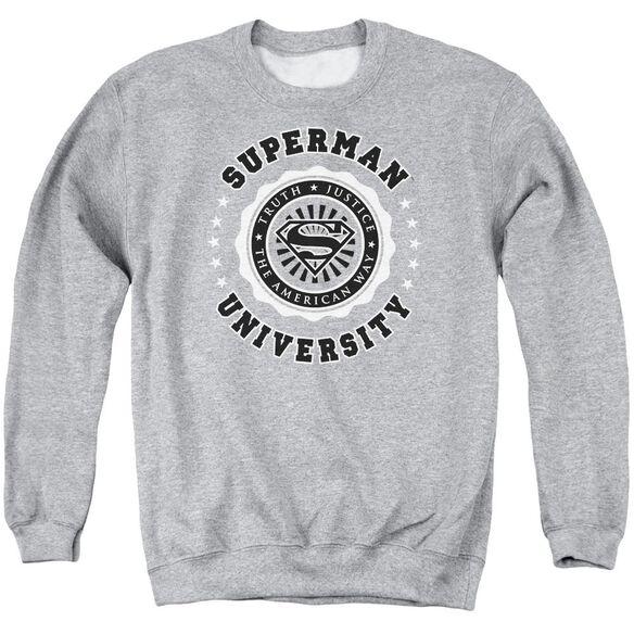 Superman Superman University - Adult Crewneck Sweatshirt - Athletic Heather
