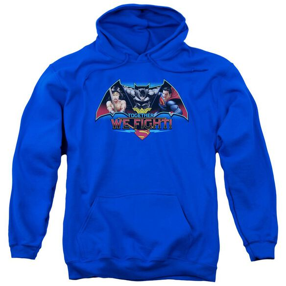 Batman V Superman Together We Fight Adult Pull Over Hoodie Royal