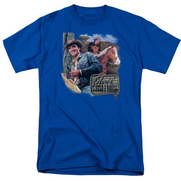 Elvis Ranch Short Sleeve Adult Royal Blue T-Shirt