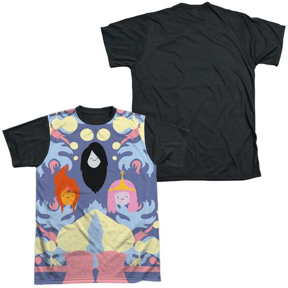ADVENTURE TIME PB, FP & MARCELINE-S/S ADULT WHITE FRONT BLACK BACK T-Shirt