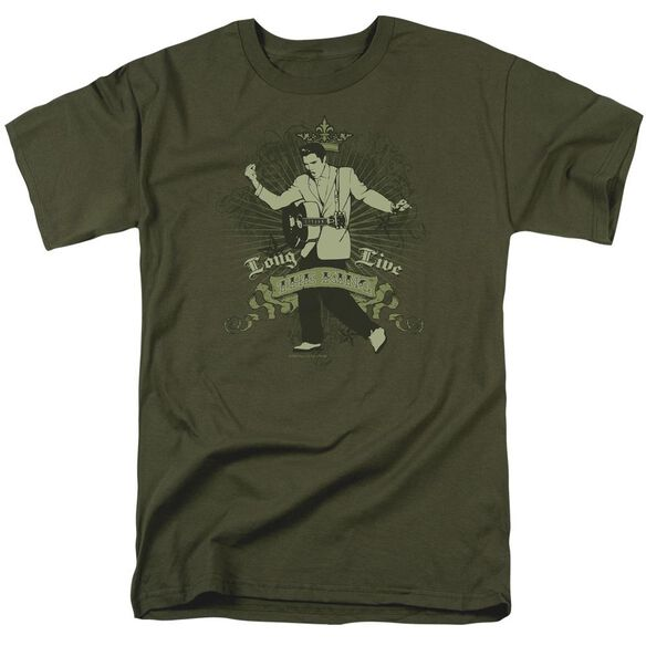Elvis Long Live The King Short Sleeve Adult Military Green T-Shirt