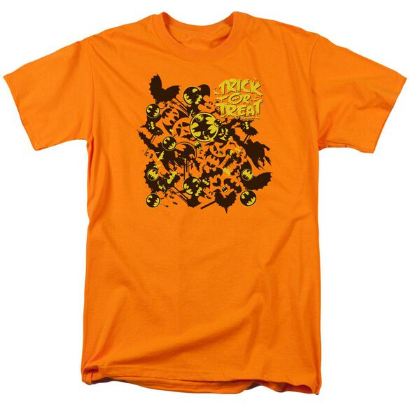 Batman Trick Or Treat Collage Short Sleeve Adult Orange T-Shirt