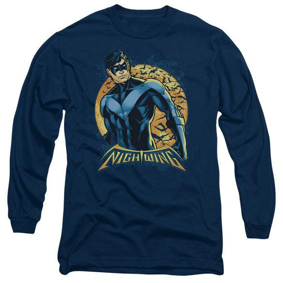 BATMAN NIGHTWING MOON - L/S ADULT 18/1 - NAVY T-Shirt