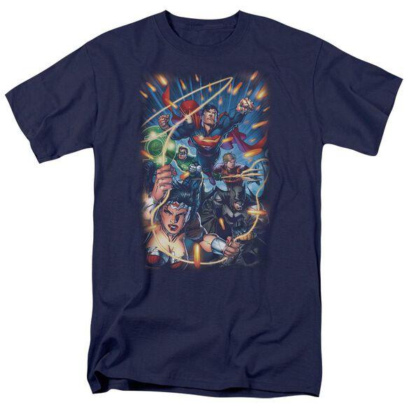 Jla Under Attack Short Sleeve Adult T-Shirt