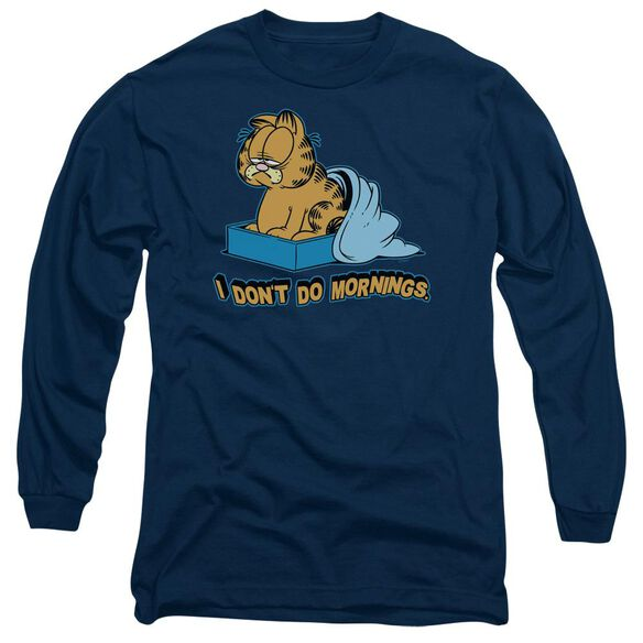 Garfield I Dont Do Mornings Long Sleeve Adult T-Shirt