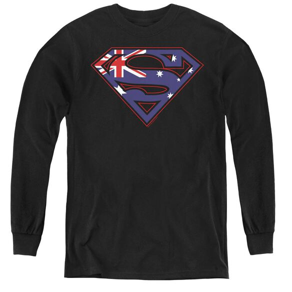 Superman Australian Shield - Youth Long Sleeve Tee - Black
