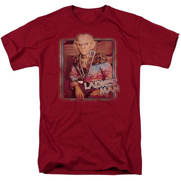 Star Trek Ladies Man Short Sleeve Adult Cardinal T-Shirt