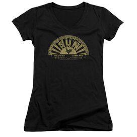 Sun Tattered Logo Junior V Neck T-Shirt