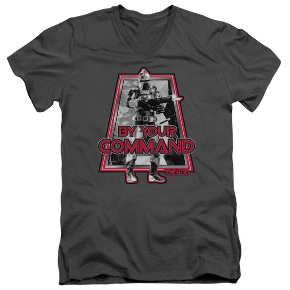 BSG BY YOUR COMMAND(classic) - S/S ADULT V-NECK - CHARCOAL T-Shirt