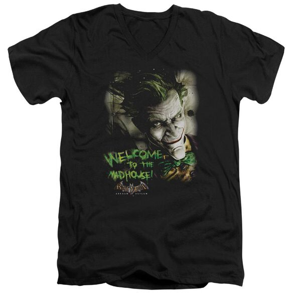 BATMAN AA WELCOME TO THE MADHOUSE - S/S ADULT V-NECK - BLACK T-Shirt