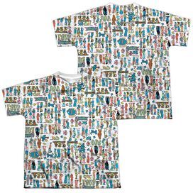 Wheres Waldo Figures (Front Back Print) Short Sleeve Youth Poly Crew T-Shirt