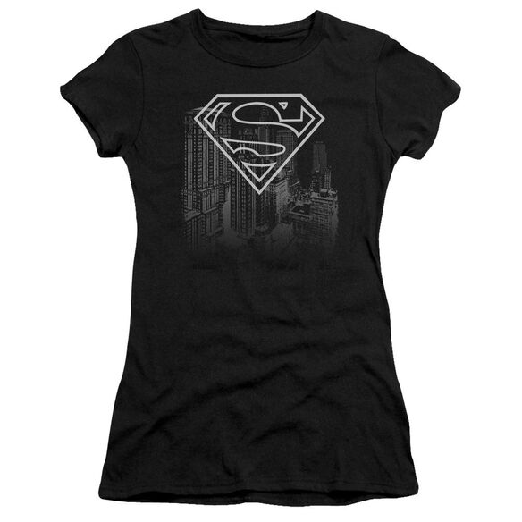 SUPERMAN SKYLINE - S/S JUNIOR SHEER - BLACK T-Shirt