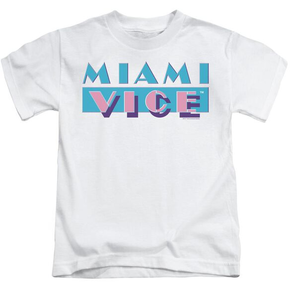 Miami Vice Logo Short Sleeve Juvenile White Md T-Shirt