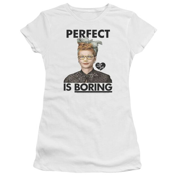I Love Lucy Perfect Is Boring Short Sleeve Junior Sheer T-Shirt