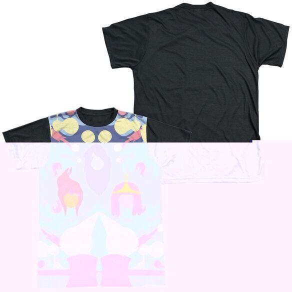 ADVENTURE TIME PB, FP & MARCELINE-S/S ADULT WHITE FRONT BLACK BACK T-Shirt