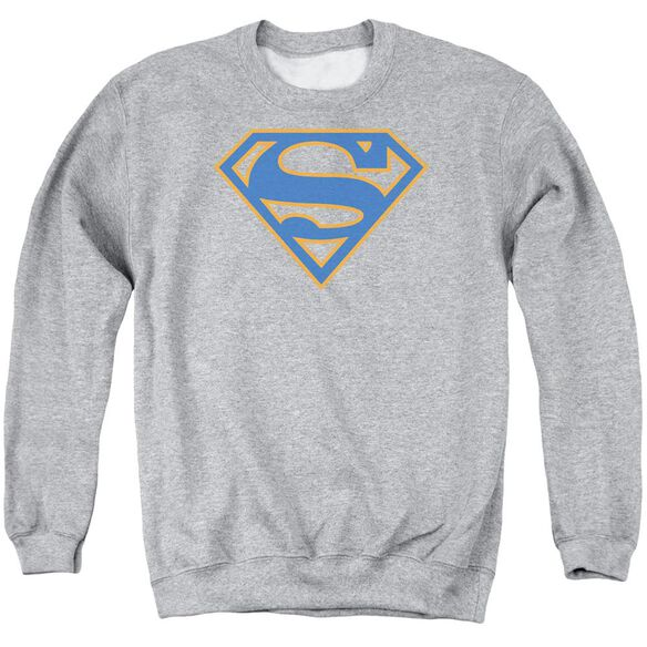 Superman Blue &Amp; Orange Shield Adult Crewneck Sweatshirt Athletic