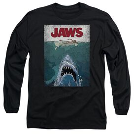 Jaws Lined Poster Long Sleeve Adult T-Shirt
