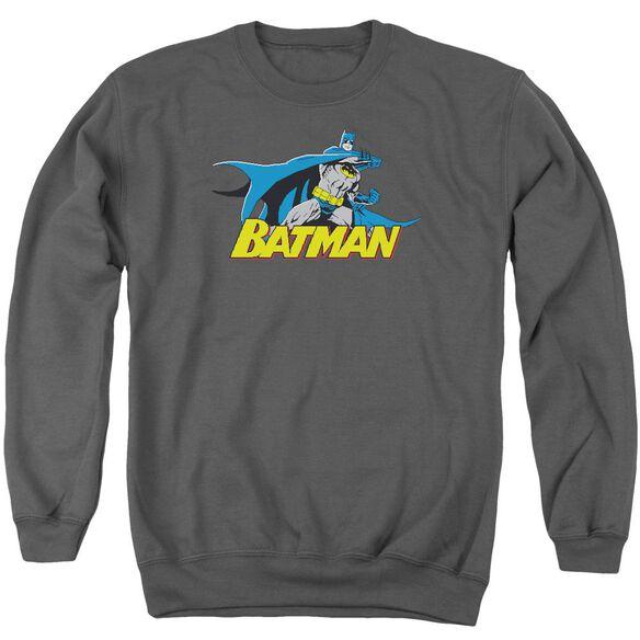 Batman 8 Bit Cape - Adult Crewneck Sweatshirt - Charcoal