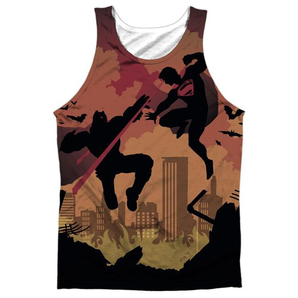 Batman V Superman Silhouette Fight Adult Poly Tank Top