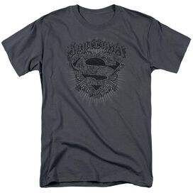 Superman Scrolling Shield Short Sleeve Adult Charcoal T-Shirt
