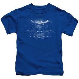 Batman V Superman Bw Logo Short Sleeve Juvenile Royal Blue T-Shirt