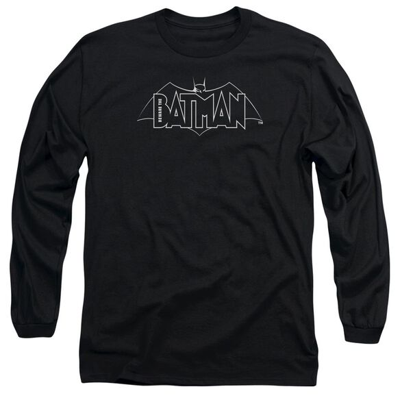 Beware The Batman B&W Logo Long Sleeve Adult T-Shirt